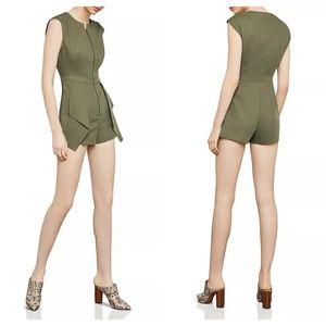 BCBGMaxAzria Pants - BCBGMaxAzria Dusty Olive Front-Zip Jumpsuit Romper